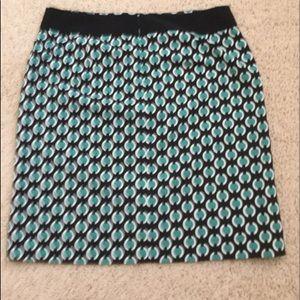 SIZE 10 Worthington Mint Green/Black Pattern Skirt